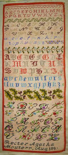 A Beautiful 19th Century German Sampler Stitched By Reiter Agatha Mautern & Dated 1890 ~ eBay.de/