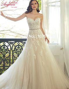 K2801 Vestido De Noiva 2016 Lace Wedding Dresses With Beading Belt Rode De Mariage Cstomize Size
