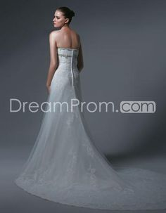 US $192.29 Pretty A-line/Princess Strapless Floor-length Chapel Embroidery Bridal Gowns (3AA0197)
