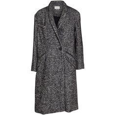 Isabel Marant Etoile Dan oversize herringbone wool coat ($370) ❤ liked on Polyvore featuring outerwear, coats, black, black oversized coat, wool coat, black wool coat, woolen coat and long sleeve coat