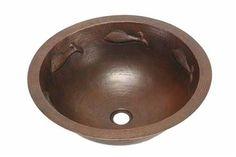 Large Round Copper Bath Sink - Pescado Fish Design | Available at CopperSinksOnline.com