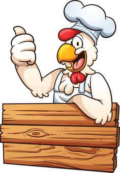 Illustration about Cartoon chicken chef with a wooden sign. Vector clip art illustration with simple gradients. All in a single layer. Illustration of wooden, chicken, chef - 57636923 Chicken Clip Art, Chicken Vector, Chicken Logo, Cartoon Chicken, Chicken Drawing, Cartoon Rooster, Smiley Emoji, Logo Restaurant, Character Design Animation