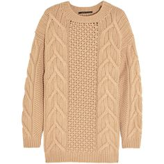 Agnona Aran-knit cashmere sweater ($1,100) ❤ liked on Polyvore featuring tops, sweaters, long sleeves, shirts, brown, beige shirt, aran knit sweater, shirt sweater, knit sweater and aran sweater
