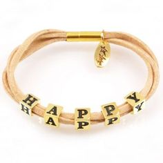 Bracelet HAPPY, LETTERS collection, gold version http://store.lovya.net/letters-from-your-heart-bransoletki/165-bransoletka-zlote-kostki-.html
