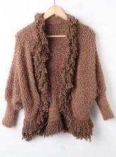 Coffee Batwing Long Sleeve Tassel Plush Cardigan Sweater $56.08  #SheInside #hipster #love #cute #fashion #style #vintage #repin #follow