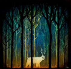 Profound Encounters Amid the Forest Deep Print by andykehoe