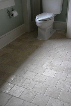 Redoing the boys bathroom.... Bathroom Floor Love the stone tile!