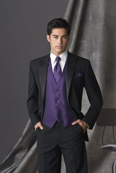 Regency Purple Tuxedo Vest & tie with black suit- David's Bridal has it where you can color coordinate with the bridesmaid's dresses in Regency Purple. Needs to have ivory Or soft white colored shirt.: