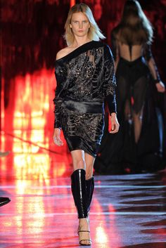 Alexandre Vauthier | Fall 2014 Couture | 28 Black lace long sleeve top and mini skirt