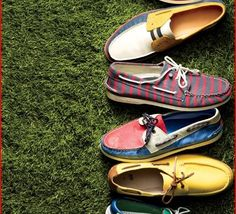 Add right on trend boat shoes for a splash of color.  Color is big this season and men have many options to brighten up a monochromatic look.  Every shade of blue, mustards and reds are hot hues in 2012.