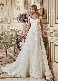 Buy discount Elegant Tulle & Lace Square Neckline 2 In 1 Wedding Dress With Lace Appliques #SemiAnnual Sale at Dressilyme.com