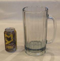 "VINTAGE GIANT ENORMOUS 64 OZ HEAVY RIBBED 9"" TALL GLASS BEER MUG MAN CAVE BAR"