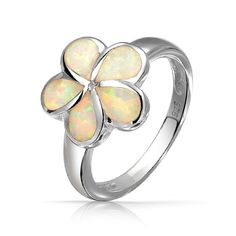 Hawaiian Jewelry Plumeria Flower Inlay White Opal Ring 925 Sterling