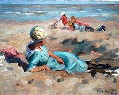 Lodewijk 'Louis' Soonius (1883-1956) Zomerdag aan strand van Scheveningen, 1920. (Coll. Simonis&Buunk, Ede)