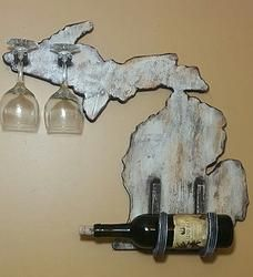 Rustic Wood Michigan Wine Rack