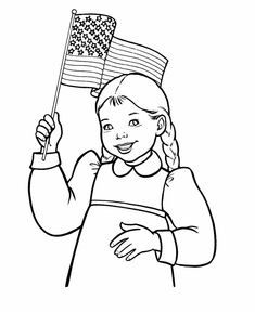 July 4th Coloring Pages - Girl waving the flag