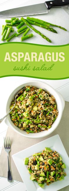 Asparagus Sushi Salad - all the texture and flavor of veggie sushi rolls in an easy to make salad!