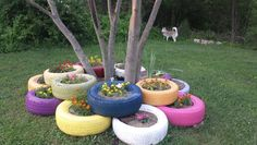 Flower bed made out of painted tires