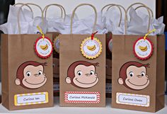 Curious George birthday party goody bags / READY-MADE / set of 12 Boys First Birthday Party Ideas, Kids Birthday Themes, Birthday Favors, 1st Boy Birthday, First Birthday Parties, Birthday Party Decorations, First Birthdays, Curious George Party, Curious George Birthday