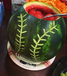 Baseball Themed Party Food - Watermelon                                                                                                                                                                                 More