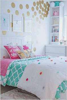 Tween Girl's Bedroom Makeover - REVEAL Teen Girl Bedroom Decorating Ideas - Contemporary with IKEA Furniture in Turquoise and White and Gold Bedroom Ideas For Teen Girls, Cute Bedroom Ideas, Teenage Girl Bedrooms, Trendy Bedroom, Bedroom Girls, Girl Rooms, Blue Bedroom, Tween Room Ideas, Turquoise Teen Bedroom