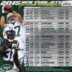New York Jets 2015 regular season schedule! Can't wait!