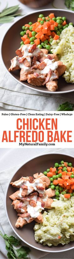 Chicken Alfredo Bake {Paleo, Clean Eating, Gluten-Free, Dairy-Free, Whole30} - This cauliflower Alfredo sauce is so good and it really helps to pull together the chicken, bacon and cauliflower risotto. So simple and so good!