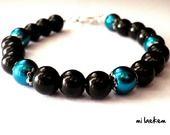 Bracelet de perles nacrées bleu paon et noir pour femme : Bracelet par milaekem-bijoux