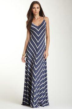 Matty M V-Neck Sleeveless Striped Flared Maxi Dress