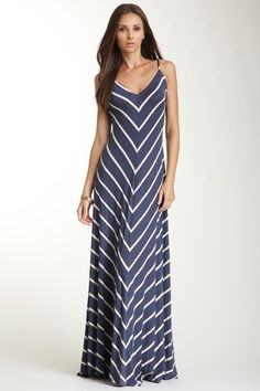 Flattering! --- V-Neck Striped Flared Maxi Dress