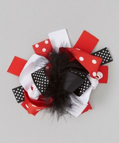 Red & Black Bow Clip