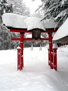 Nagano, Japan - I love, love, love Japanese snow scenes. So lovely and tranquil.