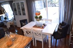 Our small dining space + new tufted end chairs! | almafied.com
