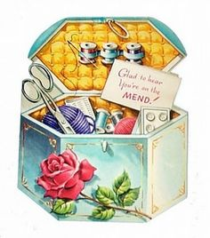 """Vintage sewing box with a note that says, """"Glad to hear You're on the MEND!"""" Cute, right!!!"""