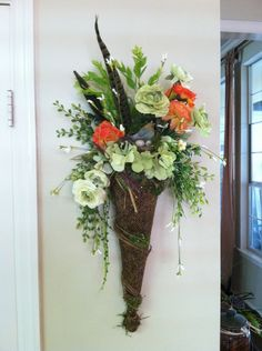 Faux Floral Wall or Door Pocket by Greatwood Floral Designs.