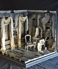 1/6 Scale  Dilapidated Corner Room--Another Ken Haseltine creation.  Isn't it wonderful?