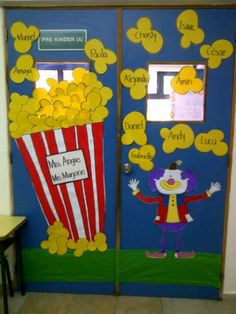 art board: Popping up in Preschool Preschool Circus, Circus Crafts, Preschool Classroom, Classroom Activities, Circus Decorations, Carnival Themes, Circus Theme Classroom, Classroom Decor, Popcorn Theme