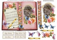 Rose and Owl Book Topper with Layers on Craftsuprint - Add To Basket!
