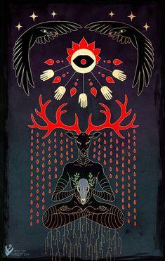 Traditional Witchcraft, Buddhist Traditions, Art Folder, Deer Art, Mushroom Art, Dark Thoughts, Horror Art, Ancient Art, Art Inspo