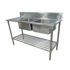 1300 X 600mm NEW COMMERCIAL DOUBLE BOWL KITCHEN SINK 304 STAINLESS STEEL  BENCH