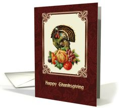 Happy Thanksgiving. Vintage Turkey and Pumpkin Design Thanksgiving Greeting Cards with personalized inside text. at greetingcarduniverse.com