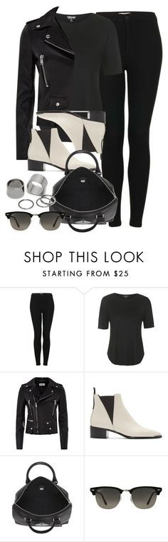 """Style #9883"" by vany-alvarado ❤ liked on Polyvore featuring Topshop, Yves Saint Laurent, Acne Studios, Mulberry, Ray-Ban and Pieces"