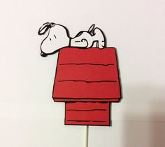 1 Snoopy on Dog House Cake Topper 6 with Lollipop by LoveToFiesta
