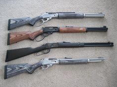 top to bottom. Marlin 1895SBL, 45-70. Marlin 1895GBL, 45-70. Puma/ Leg 92, 454 Casull Marlin 336SDG, 30-30. Marlin 1894, 357mag (1971)