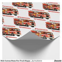 Kids Custom Name Fire Truck Happy Birthday Wrapping Paper from #TruckStore
