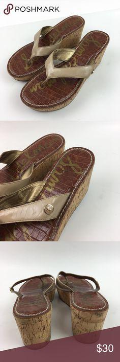 Sam Edelman Tan Romy Patent Leather Wedge Sandals Sam Edelman women's romy Tan Patent Leather cork wedge sandals. Size 7. 3' Heel. Sam Edelman Shoes Sandals