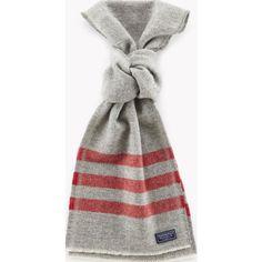 Faribault Trapper Wool Scarf | Gray/Red Stripe