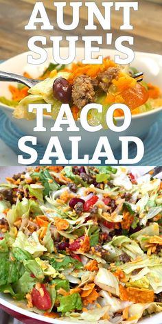 AUNT SUE'S TACO SALAD This taco salad is famous in our family. It's easy to make and full of yummy veggies, beans, beef and cheese, crushed Doritos are mixed in and then it's topped with a tangy Italian dressing. Dorito Taco Salad Recipe, Taco Salad Doritos, Taco Salad Bowls, Keto Taco Salad, Taco Salad Recipes, Soup And Salad, Mexican Food Recipes, Vegetarian Recipes, Cooking Recipes