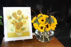 Van Gogh Bouquet - The glorious bright yellow blooms in this bouquet represent Van Gogh's Sunflowers. #NGArtBouquet #Bouquet #Flowers #Art