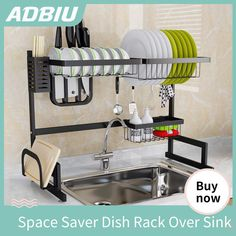 Black Over Sink Dish Drying Rack,Sink Length ≤ inch - domino. Kitchen Sink Organization, Sink Organizer, Diy Kitchen Storage, Table Storage, Kitchen Shelves, Home Organization, Organizing, Kitchen Set Up, Tidy Kitchen